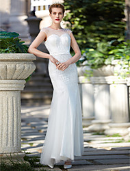 Mermaid / Trumpet Illusion Neckline Floor Length Tulle Wedding Dress with Beading Sequin Sash / Ribbon by LAN TING BRIDE®