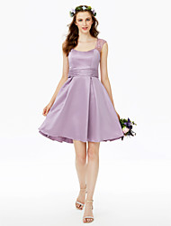 cheap -Princess Straps Short / Mini Lace Satin Bridesmaid Dress with Buttons Lace Sash / Ribbon Pleats Ruching by LAN TING BRIDE®