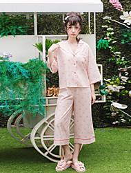 Women's Sleepwear Suit Cute Animal Pattern Button-Up Loose Sweet Pink Pajama Set