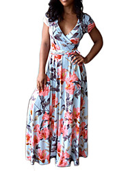 Women's Casual Holiday Casual/Daily Sexy Vintage Slim Grace Boho Sheath DressFloral V Neck Maxi Short Sleeve Pleated Spring Summer High Rise
