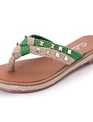 Feminino Chinelos e flip-flops Linho Verão Caminhada Tachas Rasteiro Vermelho Verde 5 a 7 cm