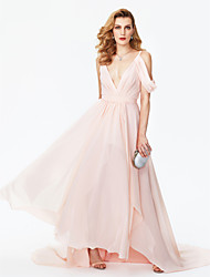 A-Line V-neck Court Train Chiffon Formal Evening Dress with Sash / Ribbon Split Front Pleats by TS Couture®
