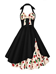 Women's Party Going out Vintage Swing Dress,Mixed Color Halter Above Knee Sleeveless Cotton Summer High Rise Micro-elastic Medium