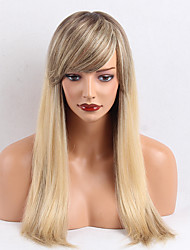 cheap -Beautiful Oblique Bangs  OmbreColor  Long  Straight  Human Hair Wigs