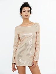 Women's Sequin Party Club Sexy Slim Street chic Bodycon DressSolid Backless Sequins Round Neck Mini Long Sleeve