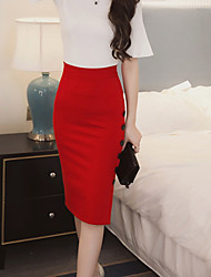 cheap -Women's Work Midi Skirts,Simple Bodycon Solid Spring Summer Fall