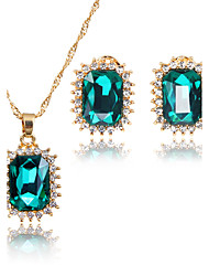 cheap -Women's Jewelry Set Bridal Jewelry Sets Pendants AAA Cubic Zirconia Classic Square Fashion Adorable Euramerican Simple Style Wedding