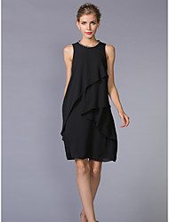 cheap -Women's Work Plus Size Casual A Line Dress,Solid Round Neck Knee-length Sleeveless Polyester Summer Mid Rise Inelastic Thin