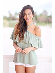 cheap -Women's Cotton T-shirt - Solid Off Shoulder