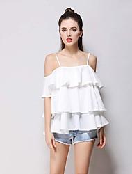 Tee-shirt Femme,Couleur Pleine Vêtements de Plein Air Voyage Sexy Sans Manches Bateau Coton