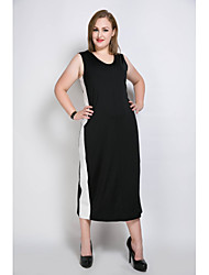 cheap -Really Love Women's Club Cute T Shirt Tunic Black and White Dress - Color Block Patchwork V Neck