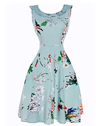 Women's Daily Beach Holiday Vintage Sheath Swing Dress,Floral Boat Neck Knee-length Sleeveless Cotton Polyester Summer High Rise