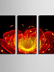 E-HOME Stretched Canvas Art Sparkling Red Flowers Decoration Painting Set Of 3