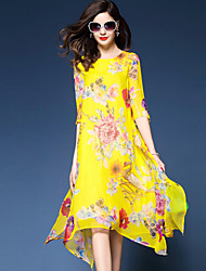 cheap -Women's Plus Size Boho Loose Chiffon Swing Dress - Floral, Stylish Chiffon Printing