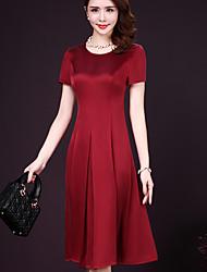 Linea A Vestito Da donna-Casual Semplice Tinta unita Rotonda Medio Manica corta 90% Wool10% Seta Estate A vita medio-alta Media elasticità