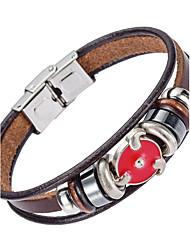 Недорогие -Муж. Кожаные браслеты - Кожа Природа, Мода Браслеты Коричневый Назначение Особые случаи Подарок Спорт