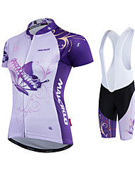 cheap -Malciklo Women's Cycling Jersey with Shorts - White Black Bike Clothing Suits Polyester