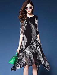 baratos -Mulheres Diário Para Noite Tamanhos Grandes Casual Sofisticado Solto Chifon balanço Médio Assimétrico Vestido,Fashion Estampado Chifon