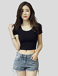 Damen Solide Gestreift Einfach Street Schick Aktiv Lässig/Alltäglich T-shirt,Rundhalsausschnitt Frühling Sommer Kurzarm PolyesterDünn