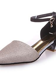 economico -Da donna Sandali Club Shoes PU (Poliuretano) Primavera Estate Formale Club Shoes Fibbia Quadrato Oro Nero Argento 5 - 7 cm