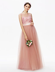 cheap -A-Line Jewel Neck Floor Length Tulle Floral Lace Bridesmaid Dress with Sequin Appliques Sashes / Ribbons Pleats Flower by LAN TING BRIDE®