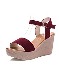 Women's Sandals Club Shoes Leather Summer Office & Career Wedge Heel Pool Ruby Coffee Fuchsia Black 5in & over