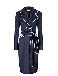 Women's Plus Size Work Sophisticated Sheath Dress,Solid Shirt Collar Knee-length Long Sleeve Polyester Fall Mid Rise Micro-elastic Medium