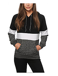 Women's Daily Casual Hoodie Color Block Hooded Micro-elastic Cotton Long Sleeve Spring Fall