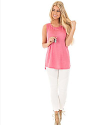 Women's Going out Casual/Daily Vintage Cute T-shirt,Solid Round Neck Sleeveless Silk