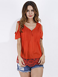 Women's Going out Work Simple Sophisticated All Seasons Blouse,Solid V Neck Short Sleeve Rayon