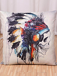 1 Pcs Exaggerated Indian Style Skull Pillow Cover Classic Cotton/Linen Pillow Case Cushion Cover