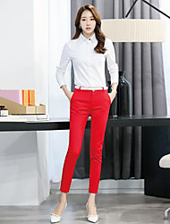 cheap -Women's Skinny Business Pants - Solid Colored High Rise