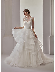 cheap -Ball Gown Illusion Neckline Sweep / Brush Train Lace Tulle Wedding Dress with Sashes/ Ribbons Tiered by Marrica