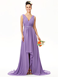 cheap -A-Line V-neck Asymmetrical Chiffon Bridesmaid Dress with Beading Side Draping Criss Cross Pleats by LAN TING BRIDE®