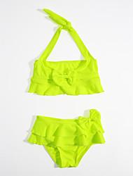 baratos -Para Meninas Listras Com Babado Côr Sólida Roupa de Banho, Algodão Verde Claro