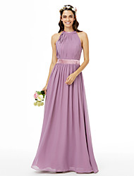 cheap -A-Line Jewel Neck Floor Length Chiffon Bridesmaid Dress with Sash / Ribbon Pleats by LAN TING BRIDE®