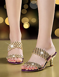Women's Sandals Microfibre Summer Fall Walking Rhinestone Sparkling Glitter Stiletto Heel Gold Black Purple 2in-2 3/4in