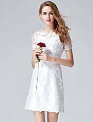 YHSPWomen's Daily Homecoming Going out Sophisticated A Line Bodycon Sheath DressSolid Flower/Floral Embroidered Round Neck Above KneeShort
