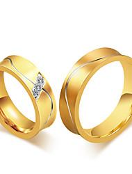 preiswerte -Paar Ring Bandring Kubikzirkonia Retro Elegant Modisch Simple Style Kubikzirkonia Titanstahl 18K Gold Kreisförmig Modeschmuck Hochzeit