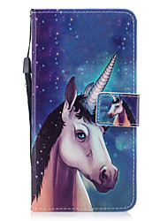 cheap -For Apple iPhone 7 7 Plus 6S 6 Plus SE 5S 5 Case Cover Unicorn Pattern Painted PU Skin Material Card Stent Wallet Phone Case