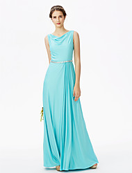 Sheath / Column Cowl Neck Floor Length Jersey Bridesmaid Dress with Beading Crystal Detailing Sashes / Ribbons Pleats by LAN TING BRIDE®