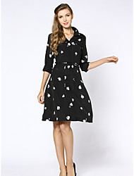 cheap -Women's Daily Work Plus Size Vintage Sophisticated A Line Dress,Floral Shirt Collar Knee-length Polyester Summer High Rise Inelastic Thin
