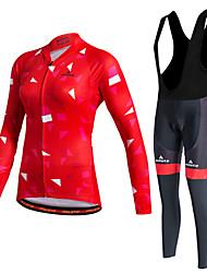 abordables -Miloto Mujer Manga Larga Maillot de Ciclismo con Mallas Bib - Verde Bicicleta Sets de Prendas, Mantiene abrigado, Secado rápido, Forro