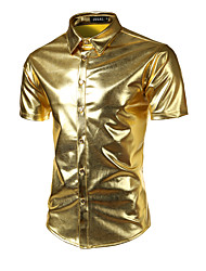cheap -Men's Slim Shirt - Solid Colored Sequins