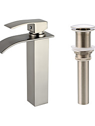 cheap -Centerset Waterfall Ceramic Valve One Hole Nickel Brushed, Faucet Set