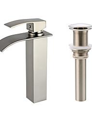 abordables -Set de centre Jet pluie Soupape céramique 1 trou Nickel brossé, Robinet