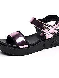 cheap -Women's Shoes Leather Summer Comfort Sandals Wedge Heel Peep Toe For Casual Silver Yellow Fuchsia