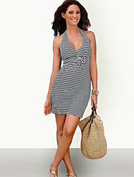 cheap -Women's Beach Cute Casual Bodycon Sheath Dress - Striped, Backless Bow Criss-Cross Halter
