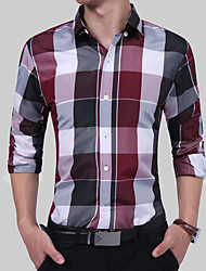 cheap -Men's Party Chinoiserie Boho Plus Size Cotton Shirt - Color Block Plaid / Check Formal Style Stylish