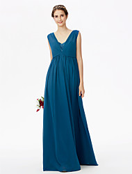 cheap -A-Line Straps Floor Length Chiffon Corded Lace Bridesmaid Dress with Lace Bandage Pleats by LAN TING BRIDE®